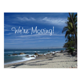 Palm Tree Beach; Change of Address Postcard