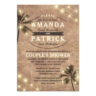 Palm Tree Beach Couples Shower Invitations
