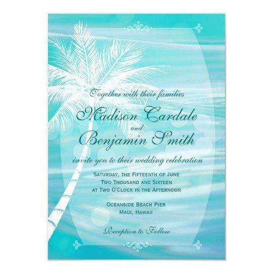 Palm Tree Beach Destination Wedding Invitations Zazzle Com