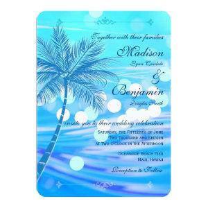 Palm Tree Beach Destination Wedding Invitations 4.5