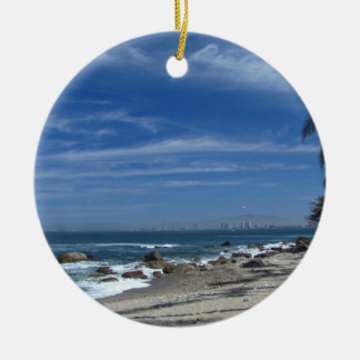 Palm Tree Beach Double-Sided Ceramic Round Christmas Ornament
