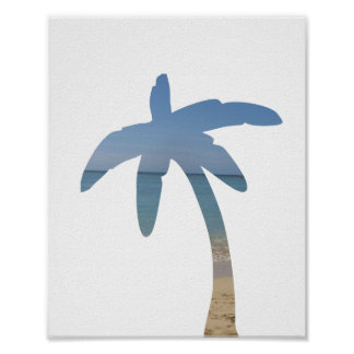 Palm Tree Beach Ocean Photo Art Print