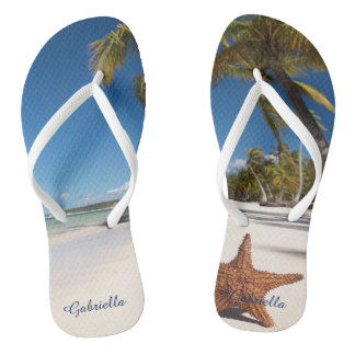 Palm Tree Beach Scene Personalized Flip Flops