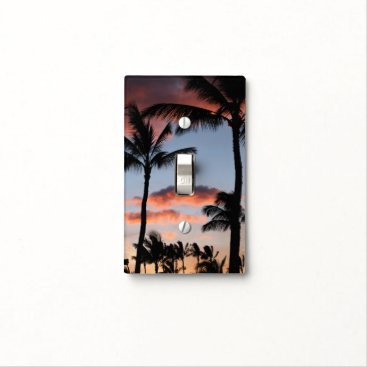 Beach Themed Palm Tree Beach Sky Clouds Sunset Nature Office Light Switch Cover