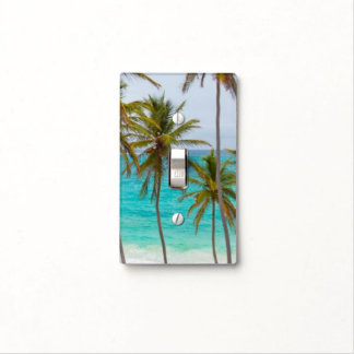 Palm Tree Beach Sky Clouds Sunset Nature Office Light Switch Cover