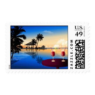Palm Tree Beach theme wedding event Stamps