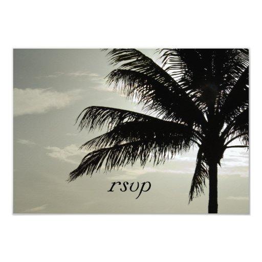 Palm Tree Beach Wedding RSVP Response Card Custom Announcement