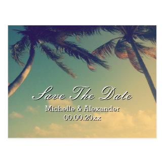 Palm tree beach wedding Save The Date postcards