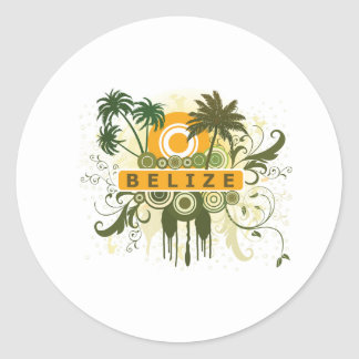 Palm Tree Belize Classic Round Sticker