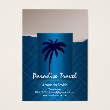 Professional Business Palm Tree Blue Business Cards
