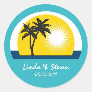 Palm Tree Blue Custom Labels for Wedding Classic Round Sticker
