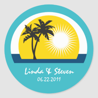 Palm Tree Blue Custom Labels for Wedding Stickers