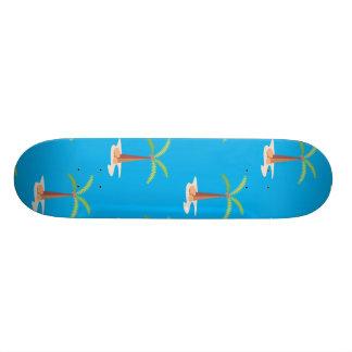 palm tree blue skate board deck