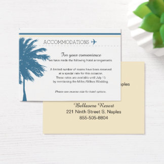 Palm Tree Boarding Pass Blue & Cream Business Card