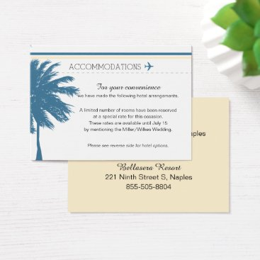 Beach Themed Palm Tree Boarding Pass Blue & Cream Business Card