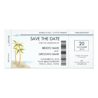 Palm Tree Boarding Pass Save the Date Invitations
