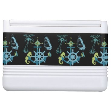Beach Themed Palm Tree Boating Helm Compass Anchor Seahorse Drink Cooler