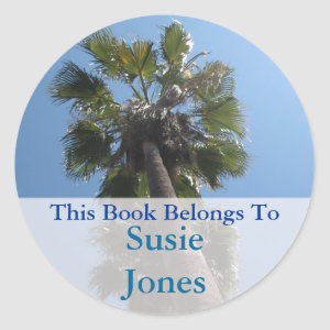 Palm Tree bookplate sticker