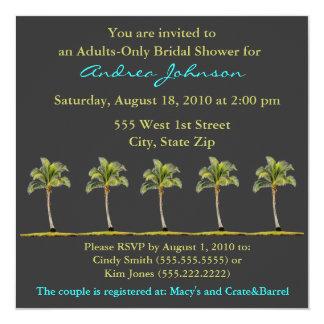 "Palm Tree Bridal Shower Invitation 5.25"" Square Invitation Card"