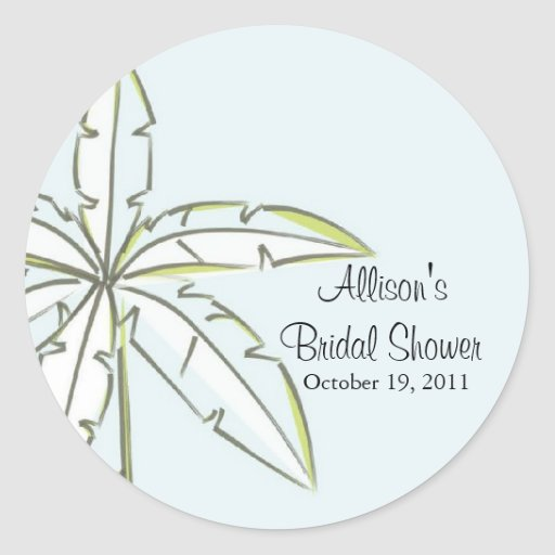 Palm Tree Bridal Shower Sticker Envelope Seal