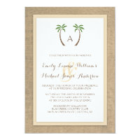 Palm Tree Burlap Beach Tropical Wedding Invitation