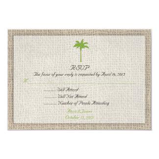 Palm Tree & Burlap Beach Wedding RSVP Personalized Invitation