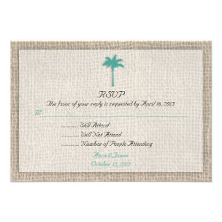Palm Tree & Burlap Beach Wedding RSVP Turquoise Personalized Invites