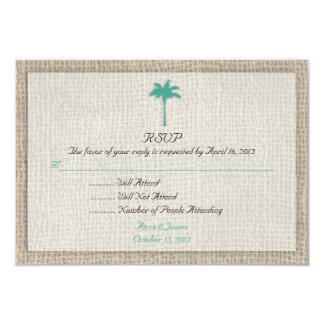 Palm Tree & Burlap Beach Wedding RSVP Turquoise Personalized Invites