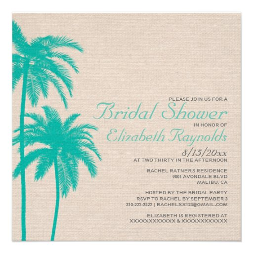 Palm Tree Burlap Bridal Shower Invitations Personalized Invite