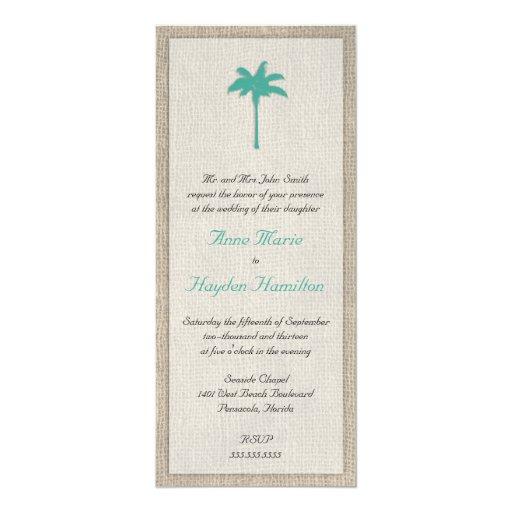 Palm Tree & Burlap Wedding Invitation - Turquoise