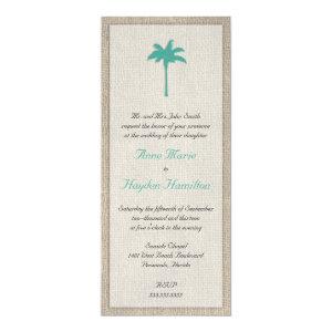 Palm Tree & Burlap Wedding Invitation - Turquoise 4