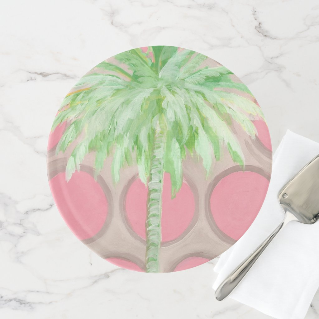 Palm Tree Cake Stand- Pretty Pink Polka Dots Cake Stand