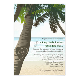 Palm Tree Carved Initials Wedding Invitations