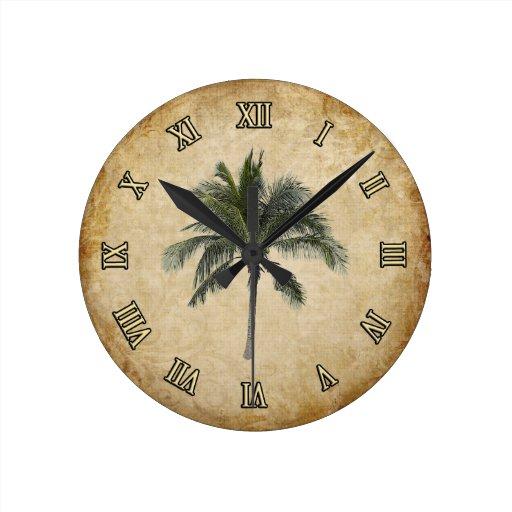 Palm Tree Round Wall Clock