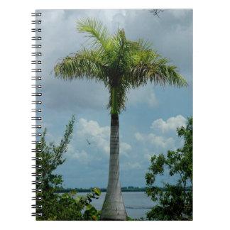 Palm Tree clouds ocean Notebook