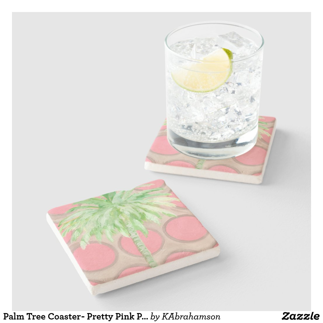 Palm Tree Coaster- Pretty Pink Polka Dots Stone Coaster
