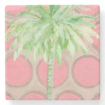 Beach Themed Palm Tree Coaster- Pretty Pink Polka Dots Stone Coaster