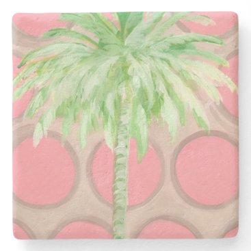 Beach Themed Palm Tree Coaster- Pretty Pink Polka Dots Stone Coaster