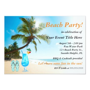 Beach Themed Palm Tree Cocktail Adult's Beach Party Card