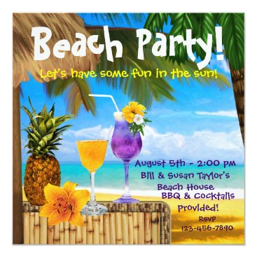 InvitationCentral Palm Tree Cocktails Adult Beach Party Card