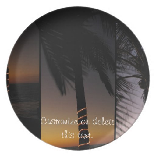 Palm Tree Collage; Customizable Party Plates