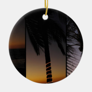 Palm Tree Collage Double-Sided Ceramic Round Christmas Ornament