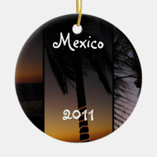 Palm Tree Collage; Mexico Souvenir Double-Sided Ceramic Round Christmas Ornament