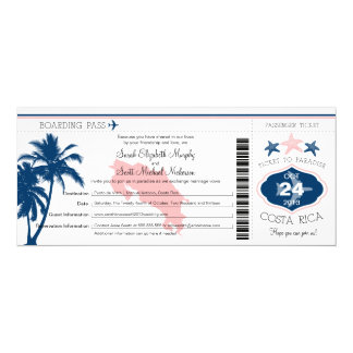 Palm Tree Costa Rica Boarding Pass Wedding Card