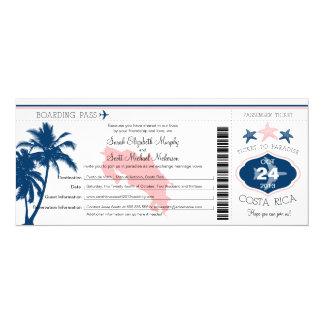 Palm Tree Costa Rica Boarding Pass Wedding Card