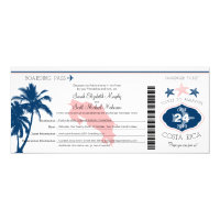Palm Tree Costa Rica Boarding Pass Wedding Invitation