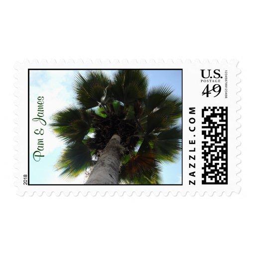 Palm Tree Couple's Name Postage