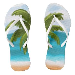 5caca760d Palm Tree Custom Flip-Flops- make changes yourself Flip Flops