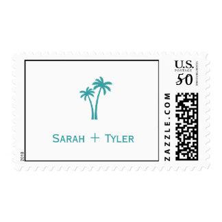 Palm Tree Custom Wedding Postage - White/Aqua