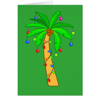 Palm Tree Decorated for Christmas Card